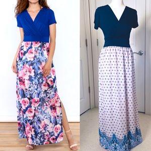 Gilli Navy Blue and Lavendar Maxi Dress